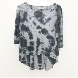 Michael Stars High Low Tie dye gray 3/4 sleeve O/S